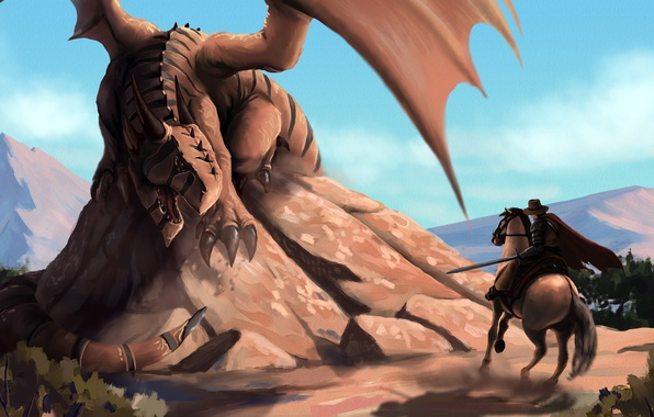 Picture dragon, horse, wings, sword, warrior, tail, rider