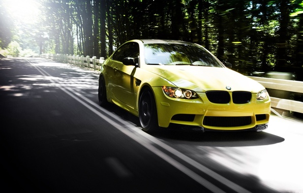 Picture road, forest, summer, cars, auto, bmw m3, yellow