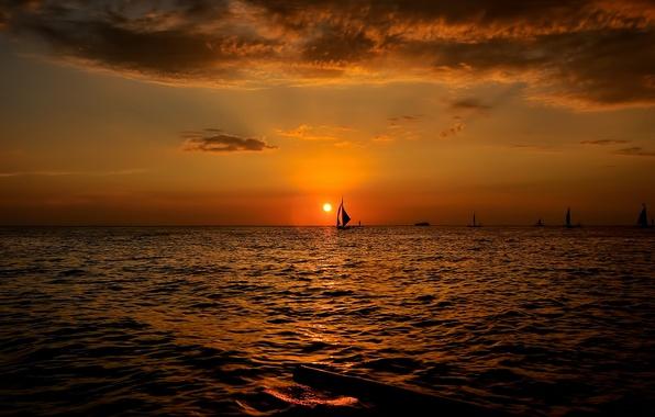 Picture sea, landscape, sunset, boats