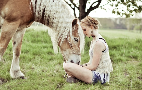 Picture girl, mood, horse