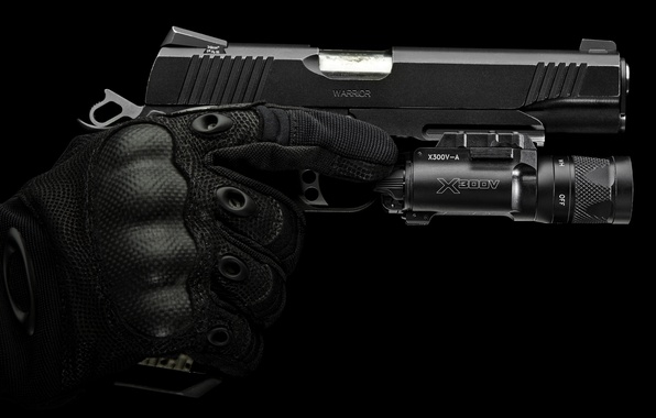 Picture gun, hand, gloves, accessories, protection