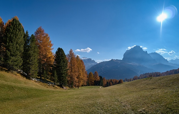 Picture autumn, forest, the sky, the sun, trees, mountains, slope, Alps, Italy, South Tyrol, The Dolomites, …