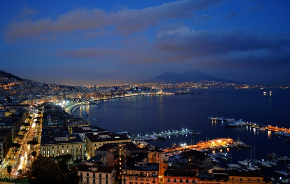 Wallpaper naples volcano cityscape city lights napoli - Naples italy wallpaper ...