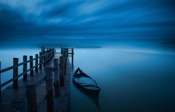 Picture night, bridge, boat