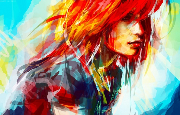 Picture girl, figure, portrait, strokes, art, beautiful, bright, strokes, colorful