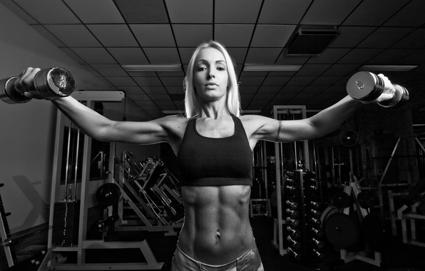Picture woman, exercise, look, pose, fitness, dumbbells