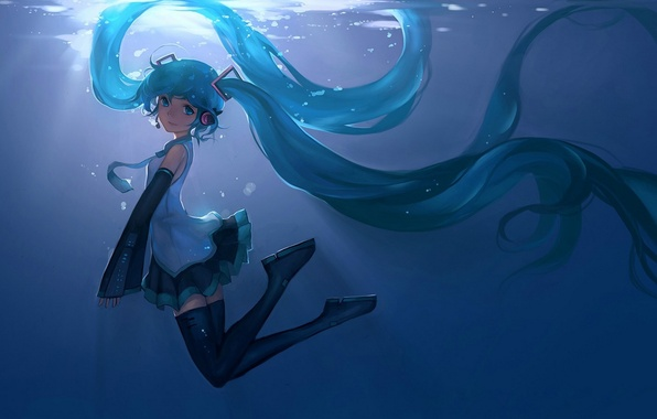 Picture girl, smile, anime, headphones, art, microphone, vocaloid, hatsune miku, under water, hanyijie