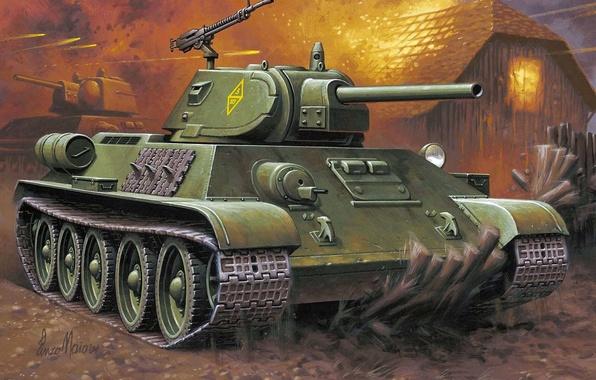 Picture figure, art, tank, the battle, Soviet, average, T-34-76, WW2., thirty-four