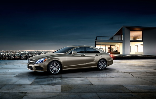 Picture The city, CLS, Mercedes, Mercedes, Gold, Coupe, Mansion