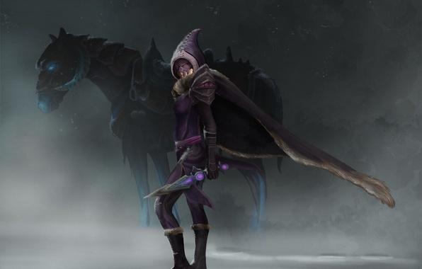 Picture snow, horse, monster, knife, hood, cloak, Tsali
