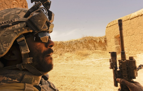 Picture desert, soldiers, Iraq, usa
