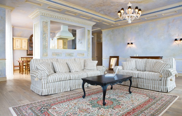 Picture room, stay, furniture, interior, fireplace, blue, furnished