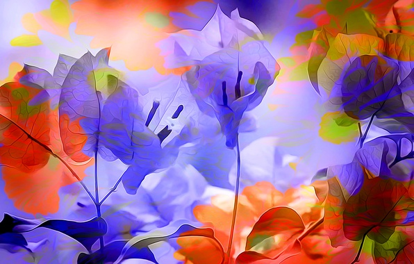 Picture leaves, line, flowers, rendering, paint