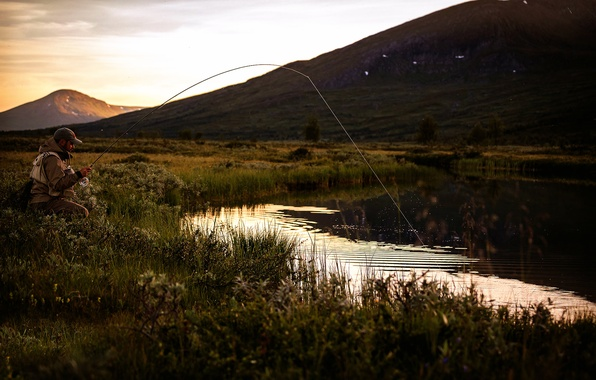 Picture nature, fisherman, rod, Laponia Nights