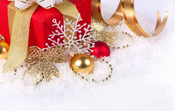 Picture snow, decoration, holiday, balls, new year, tape, gifts, new year, bow, snowflake, merry christmas, Christmas …
