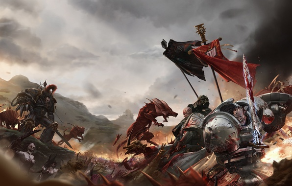 Picture chaos, space marines, shield, grey knights, daemon, warhammer 40K, daemonette, imperium, banner, black legion, power …