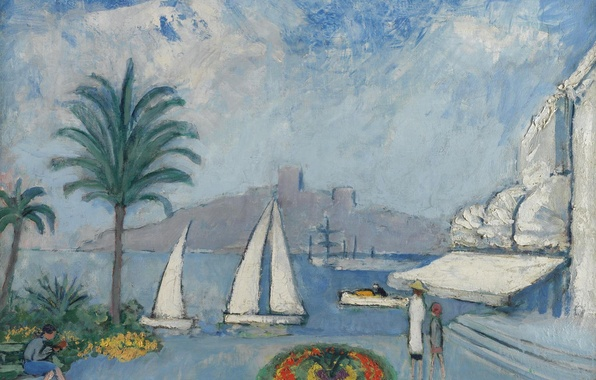 Picture landscape, the city, Palma, people, boat, home, picture, yacht, sail, flowerbed, Kees van Dongen, Sailboats …