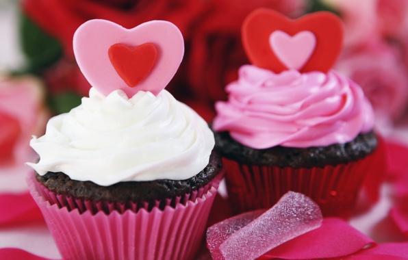 Picture heart, food, decoration, cake, cream, dessert, sweet, cupcake