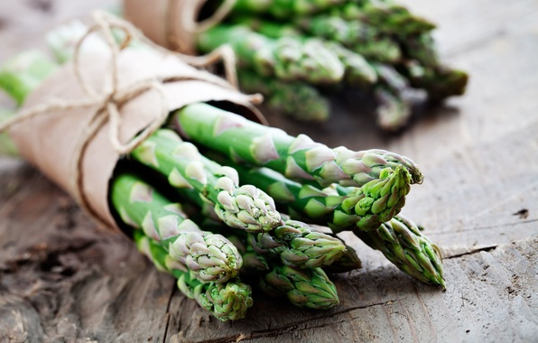 Photo wallpaper green, vegetables, tied, asparagus