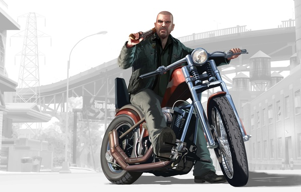 Picture the game, motorcycle, GTA