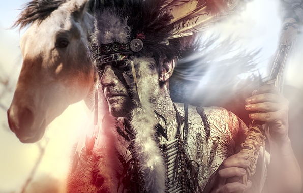 Picture face, horse, horse, feathers, male, Indian