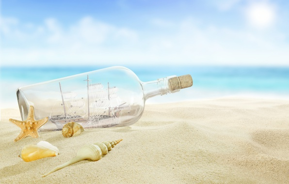 Picture beach, sea, sun, sand, letter, bottle, seashells