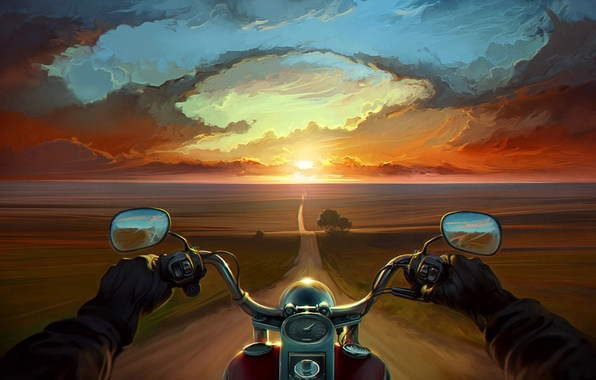 Picture road, clouds, trees, sunset, hands, art, motorcycle, bike