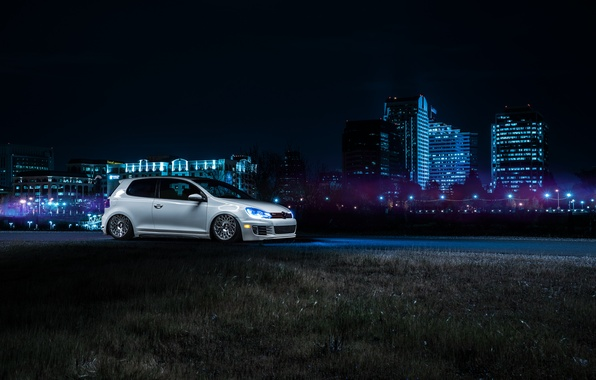 Picture Volkswagen, Front, California, Downtown, GTI, MK6, Stance, Wheels, Ligth, Nigth, VSP
