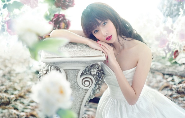 Picture look, flowers, pose, Girl, dress, Asian