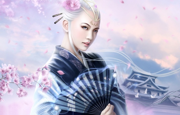 Picture flowers, Japanese, fan, kimono