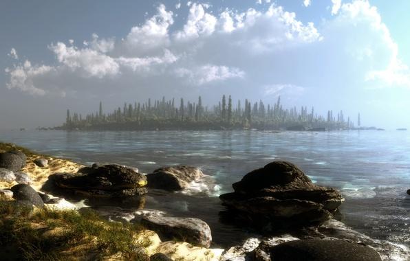 Picture forest, water, clouds, trees, landscape, lake, stones, island, art, klontak