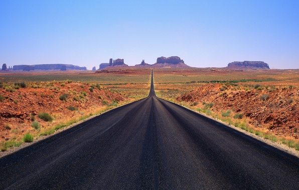 Picture road, mountains, horizon