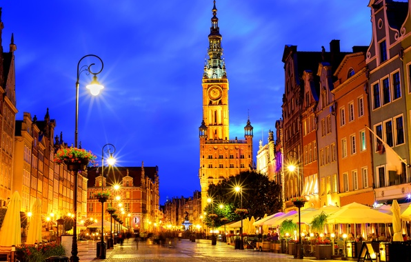 Picture night, lights, street, home, Poland, lights, Gdansk