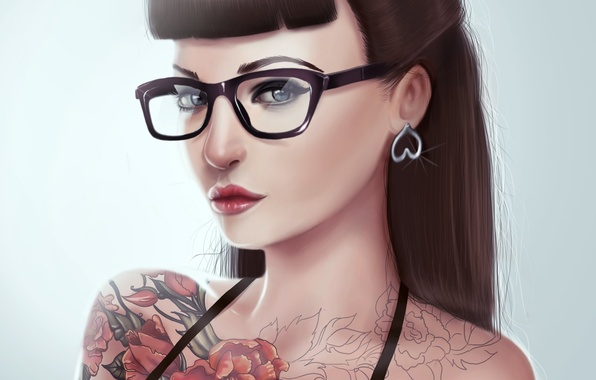 Picture look, girl, hair, tattoo, art, glasses, painting, bangs