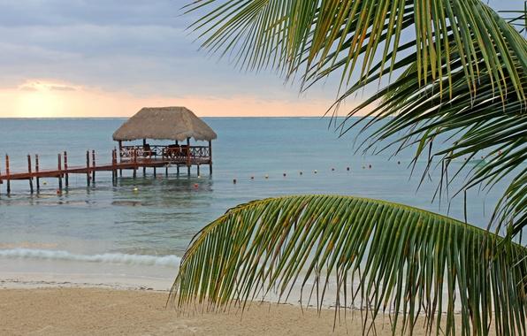Picture sea, beach, summer, Palma, stay, shore, pierce, summer, beach, gazebo, sea, arbor