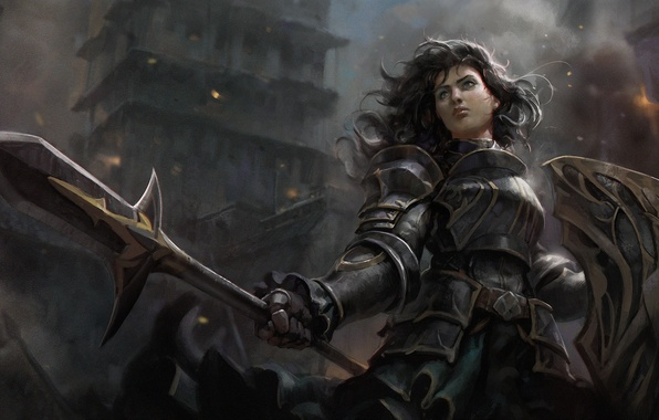 Picture girl, the city, hair, warrior, art, spear, shield, armor