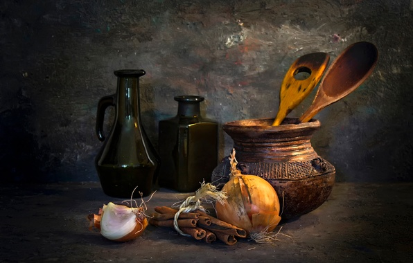 Picture bow, bottle, pitcher, still life, cinnamon, A French kitchen