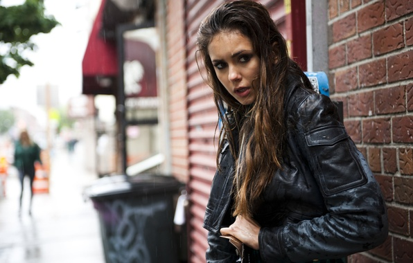 Picture look, rain, street, model, hair, actress, jacket, photographer, Nina Dobrev, Nina Dobrev, 2012, wet, photoshoot, …