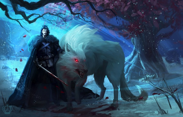 Picture tree, wolf, art, male, Ghost, Ghost, Game Of Thrones, Game of Thrones, Jon Snow, Jon …
