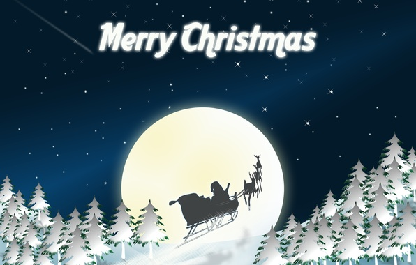Picture the sky, holiday, the moon, graphics, Christmas, stars, christmas, Santa Claus, sleigh, deer, tree