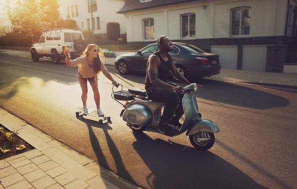Picture road, girl, joy, machine, black, home, moped, guy, skate