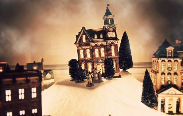 Picture winter, holiday, toy, tree, tree, new year, Christmas, house, snowman, christmas, new year, layout