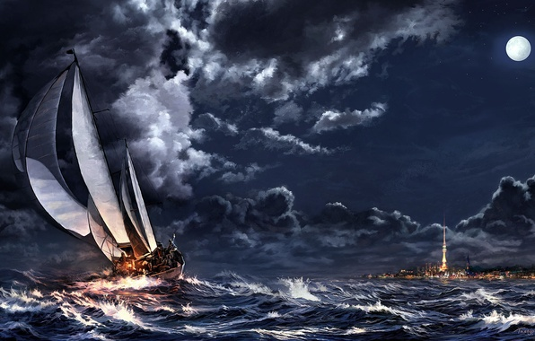 Picture sea, clouds, night, clouds, storm, the city, the moon, ship, sailboat, art, spire