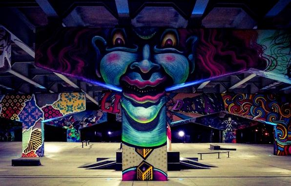 Picture light, graffiti, clown, pilasters, skateboard Park, viaducts