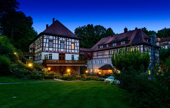 Picture photo, Home, Night, The city, Grass, Germany, Bayern, Lights, Burgbernheim