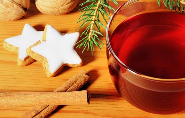 Picture background, holiday, Wallpaper, tea, tree, new year, cookies, mug, Cup, wallpaper, cinnamon, new year, widescreen, …