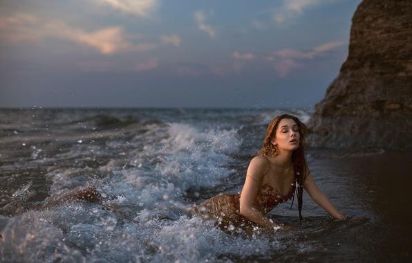 Picture sea, squirt, the ocean, wave, mermaid
