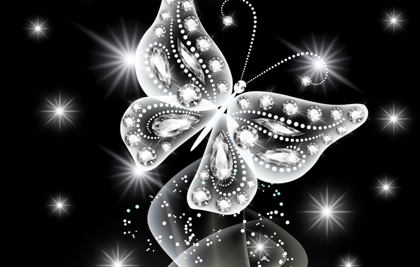 Picture butterfly, abstract, white, butterfly, glow, neon, sparkle, diamonds, neon, jem