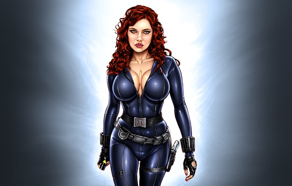 Picture modern, Scarlett Johansson, art, Scarlett Johansson, the pinup, Iron Man 2, pin-up, Black Widow, Black …