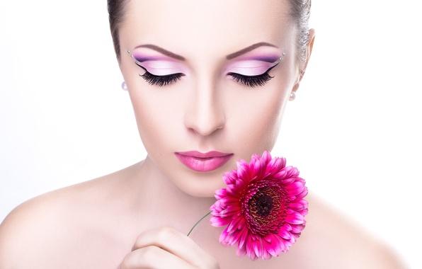 Picture flower, girl, face, eyelashes, background, model, makeup, lips, shadows, shoulders, neck